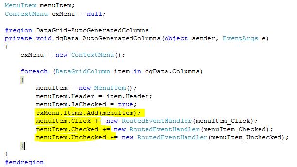Hide/Un-Hide Columns Using Context Menu In DataGrid In WPF
