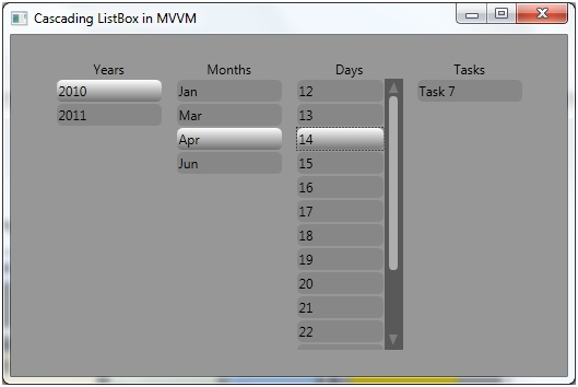 Cascading ListBox Using MVVM in WPF | Method ~ of ~ Tried