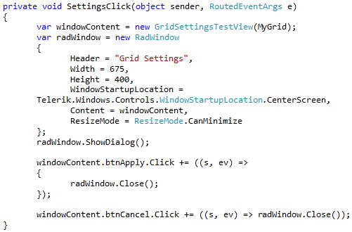 Telerik RadGridView Settings in Silverlight   Method ~ of ~ Tried