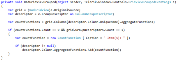 Display Count of Dynamic Grouping in RadGridView in
